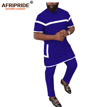 2019 african clothing for men 2 piece set solid dashiki tops+ankara pants tracksuit sweatsuit with pockets AFRIPRIDE A1916002 1