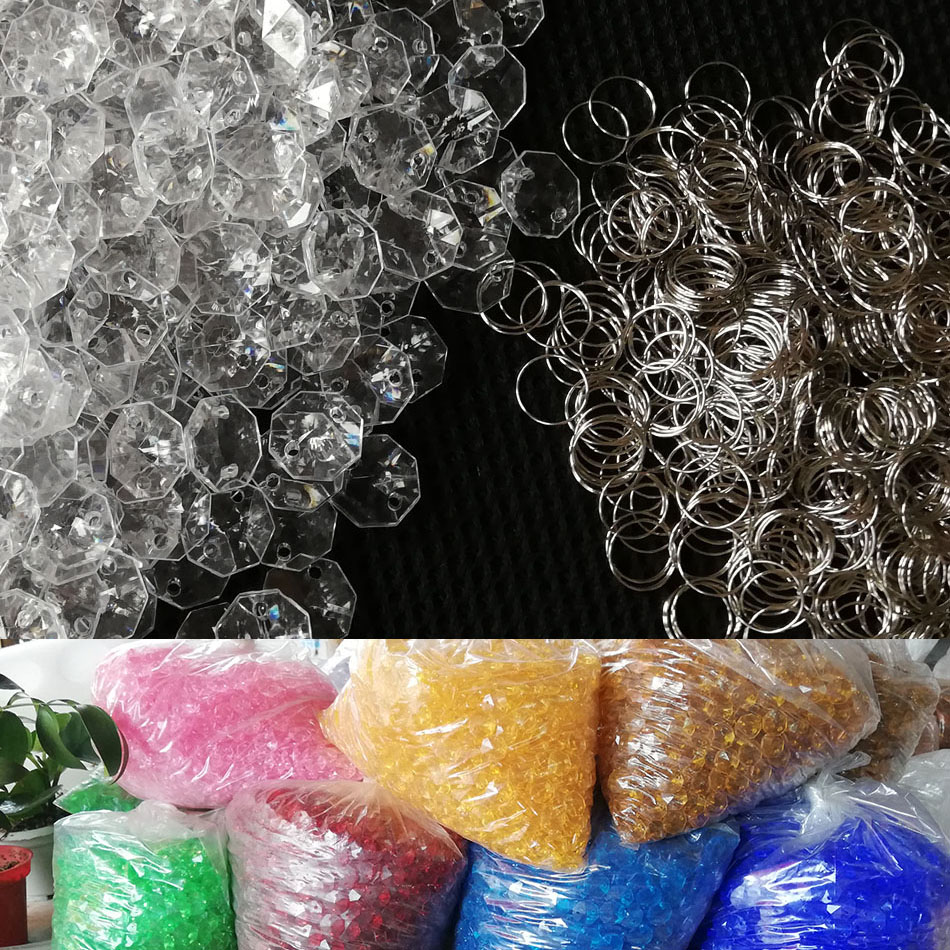 500pcs Multicolor 14mm Beads 11mm Ring Acrylic Crystal Garland Prisms Octagonal Beads Lamp Chandelier Parts Pendant Decoration