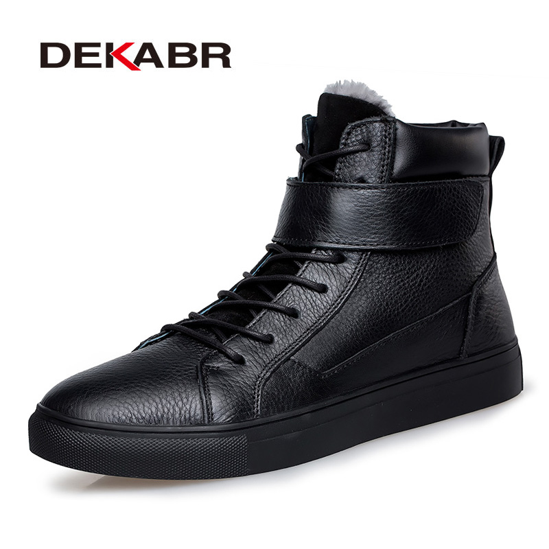 DEKABR Big Size 48 New Men Boots For Men Winter Snow Boots Warm Fur&Plush Lace Up High Top Fashion Men Shoes Sneakers Boots