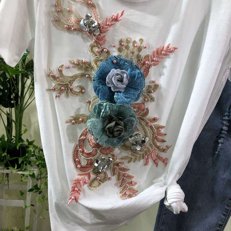 2019 夏の女性のツーピースセット刺繍スパンコール 3 次元の花半袖 Tシャツ + 穴ジーンズツーピースセット