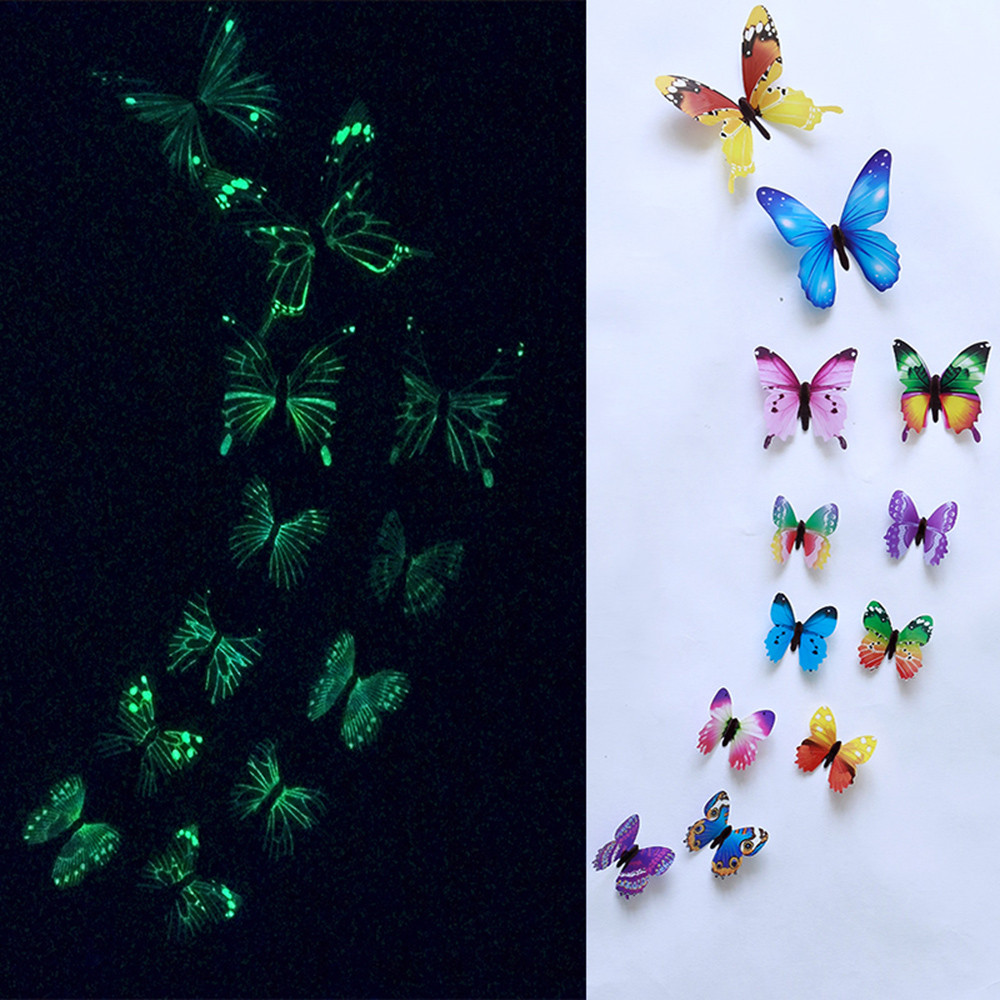 12pcs Luminous Butterfly Wall Stickers Decorations 3D Rainbow Stickers Wall Decor Animals Refrigerator Stickers Home Decor