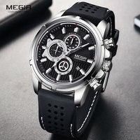 MEGIR 軍スポーツクォーツ時計男性クロノグラフシリコンストラップ腕時計高級トップブランド Relogios Mascuoino 時計 2101 シルバー