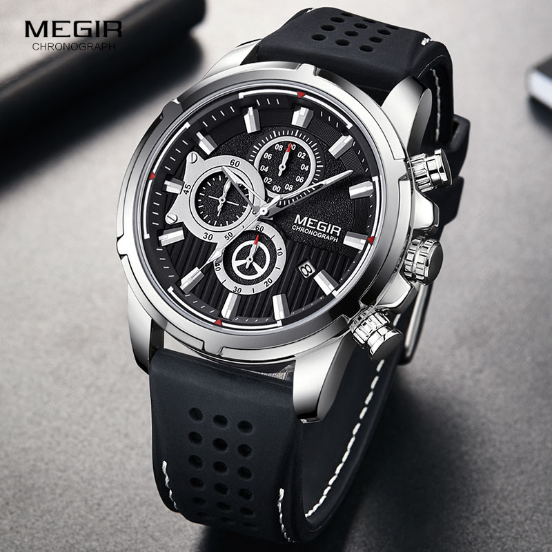 MEGIR Army Sports Quartz Watches Men Chronograph Silicone Strap Wristwatch Luxury Top Brand Relogios Mascuoino Clock 2101 Silver