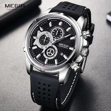MEGIR armia sport zegarki kwarcowe mężczyźni Chronograph zegarek z paskiem silikonowym luksusowa tarcza marka Relogios Mascuoino zegar 2101 srebrny