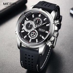 Image 1 - MEGIR צבא ספורט קוורץ שעונים גברים הכרונוגרף סיליקון רצועת שעוני יד יוקרה למעלה מותג Relogios Mascuoino שעון 2101 כסף