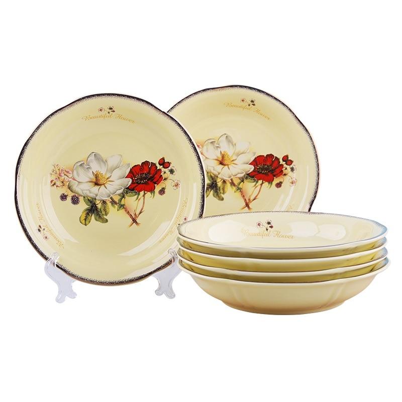 Assiettes à fruits créatives Jingdezhen | Assiettes à vaisselle de style européen assiettes à fruits créatifs plats 6 -10 pièces