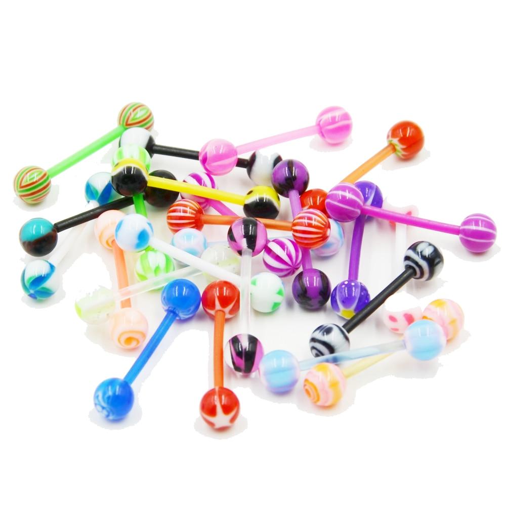 Original 25 Teile/satz Bioplast Flexible Zunge Ring Piercing Langhantelset Keine Dupliziert Zunge Retainer Bars Körperschmuck Körper Schmuck