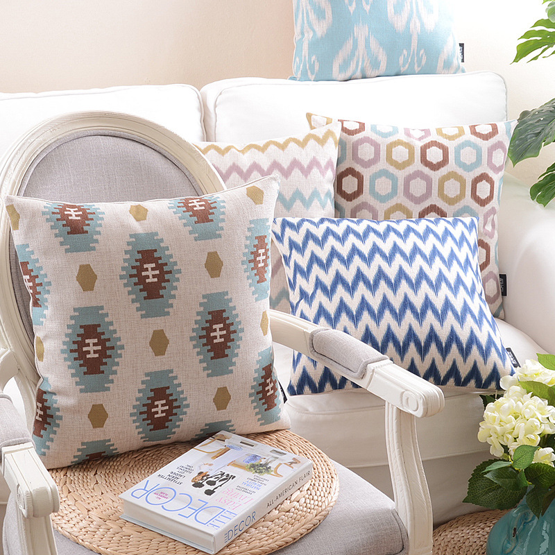 hot selling modern deer linen pillowcase fashion geometric bear cushion cover for leaning on 45*45 or 30*50cm cojines