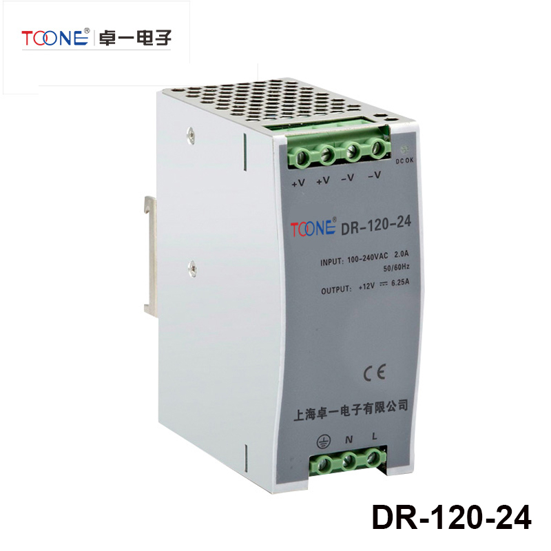 POWER SUPPLY DIN RAIL 120W 24V 5A - Switching Power Supplies - DR-120-24