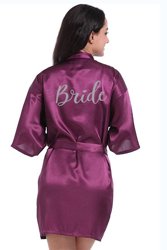 new purple robe silver writing mother of the groom robes wedding Short Bride kimono bridesmaid satin robe drop shipping