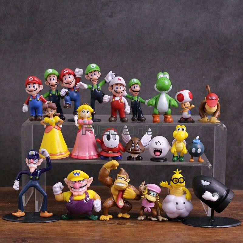 Figurines en PVC de la famille Super Mario Bros jouets 22 pièces/ensemble Mario Luigi Wario Waluigi crapaud Bowser Yoshi pêche Daisy Goomba Koopa