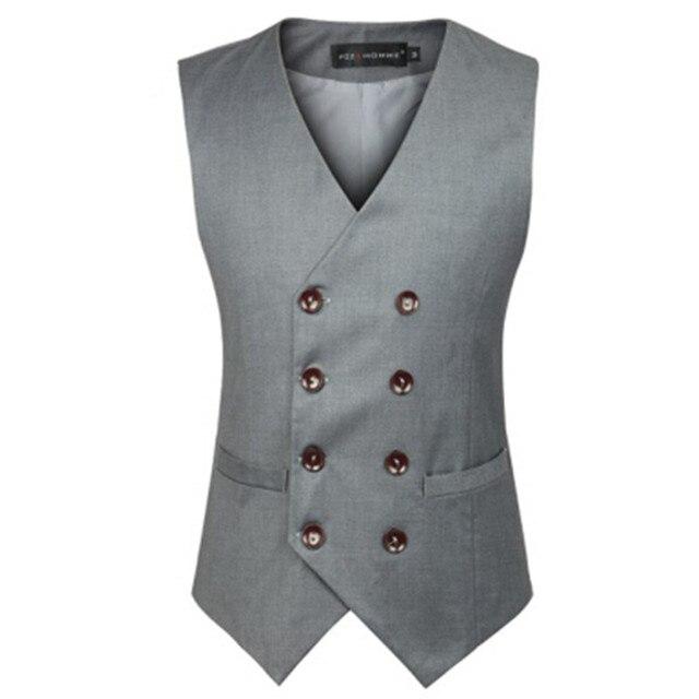 New Fashion Double Breasted Plus Size Slim Fit Chaleco Hombre Sleeveless Cotton Waistcoat Suit Vest Mens Dress Vest