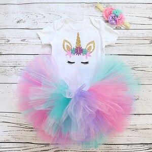 Unicorn Birthday Outfits for 1 Year Old Baby Girl Clothes Tops+tutu Dress+Headband 3pcs Unicorn Sets Infant Christening Wear(China)