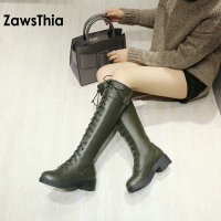 ZawsThia PU faux leather sexy lace up woman boot riding equestrian mid calf boots winter warm plush knee high women knight boots