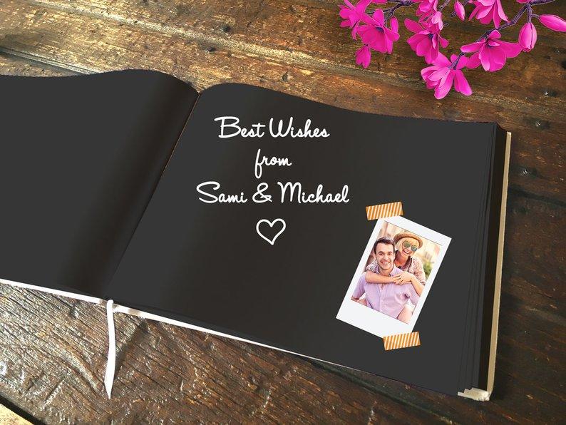 Folha de ouro horizontal casamento guestbook personalizado