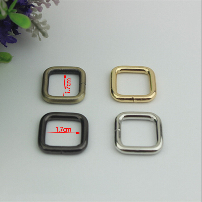 (30 Pcs/ Lot) Small 17mm Gold, Silver, Gun Black, Bronze Metal Square Buckles Loops Rings 1.7cm for Webbing Bag Strap DIY Craft 20 x 15 mm half roller buckles wire formed and belt loops silver 3 4 inch strap sliders