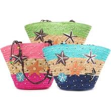 Прекрасный новый летний звезды плетеные соломенные трава-сотка статья пляжная сумка с Ленточки
