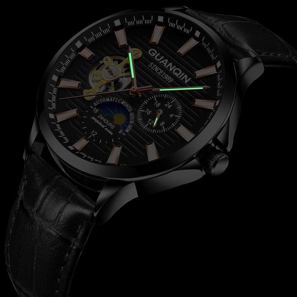 HTB1jKInKXGWBuNjy0Fbq6z4sXXaa GUANQIN 2019 new watch men waterproof Automatic Luminous men watches top brand luxury skeleton clock men leather erkek kol saati