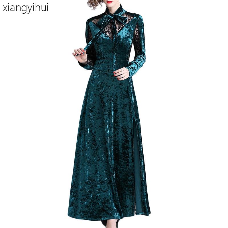 Sexy Vintage longue dentelle velours robe femmes moulante vert robe de soirée Vestidos femme dames élégant noeud papillon col Maxi robes
