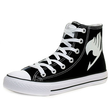 The Fairy Tail Logo Cosplay Shoes Hand Painted Luminous Anime Shoes Men High Top Sneakers Special Canvans Shoes for Teenagers