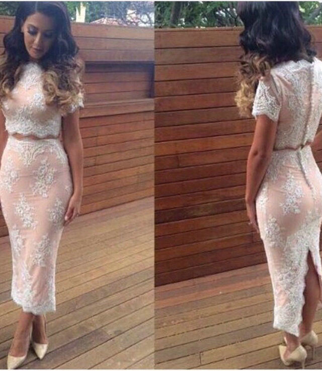 E-MARRY Elegant Tea-Length Two Pieces Lace   Cocktail     Dresses   2018 O Neckline Short Sleeves Appliques Short Evening Gown Back Slit