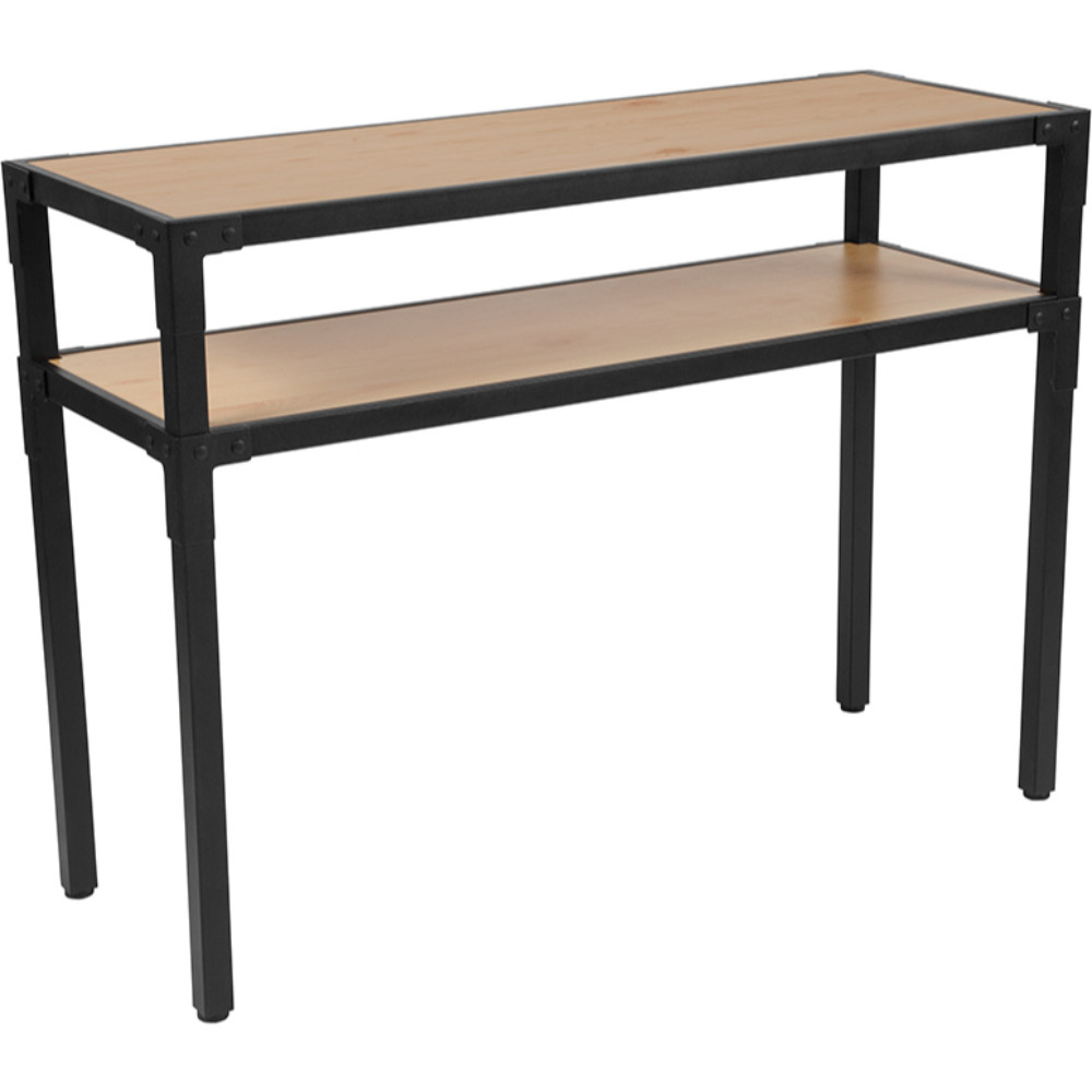 Holmby Collection Knotted Pine Wood Grain Finish Console Table with Black Metal Legs все цены