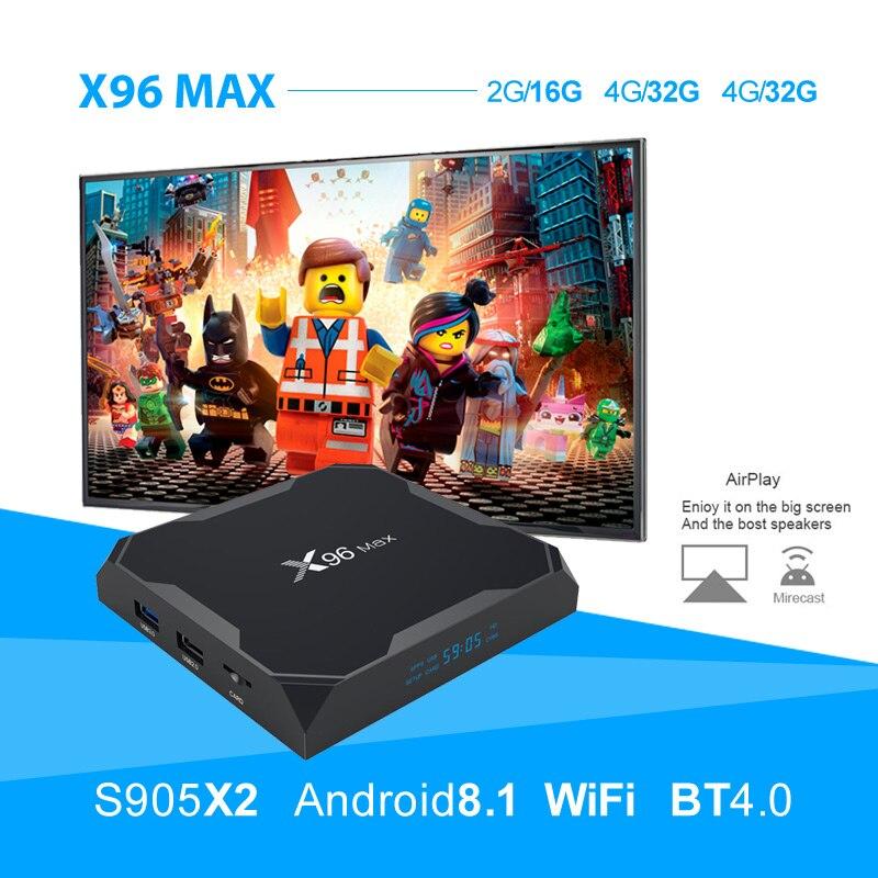 X96 Max Android 8.1 Amlogic S905X2 LPDDR4GB 64 GB box tv quadricœur 2.4G 5G Wifi BT 1000 M H.265 4K60fps boîtier de smart tv X96Max