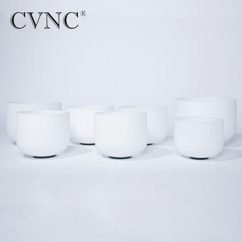 CVNC grande promotion ensemble de 7 pcs 6-12 Note Un # C # D # F # G # C # F # Givré Cristal de Quartz Singing Bowl