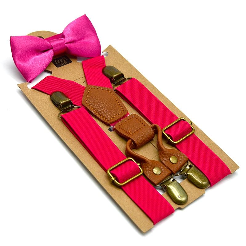 Diplomatisch Kinder Hosenträger Für Jungen Mädchen 1-10 Jahre Kind Retro Bronze 4 Clips Auf Hosenträger Elastic Kinder Sie Bogen Krawatte Klammer Set