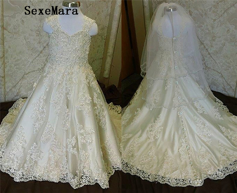 High Quality Flower Girl Dress for Wedding Lace Beading Little Princess Pageant Birthday Communion Gown size2-16Y