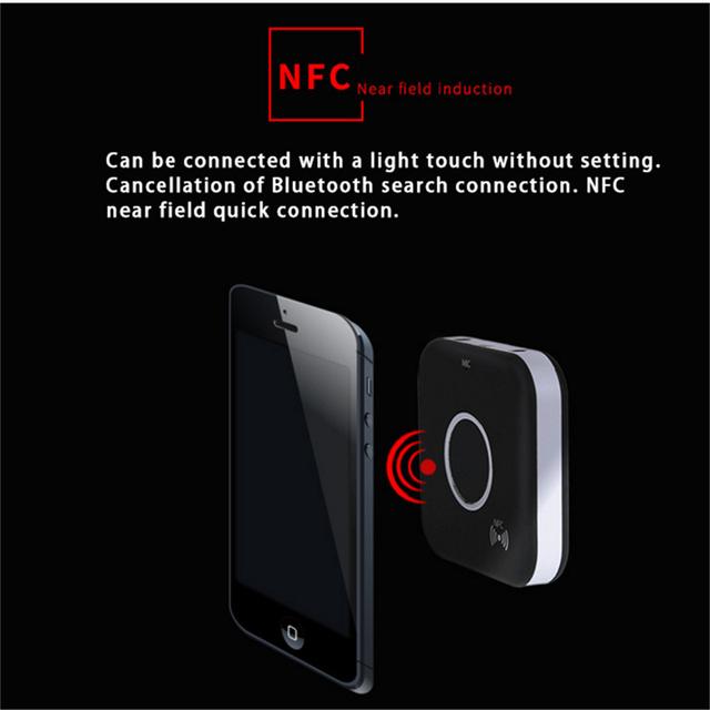 NFC Sem Fio Bluetooth 4.1 Speaker Mãos Livres Chamada adaptador CSR Sem Fio Receptor de Áudio Estéreo de Dois Saída de Áudio Do Carro Da Caixa De Crescimento