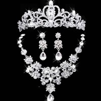 2017 New Bridal Jewelry Crown Necklace And Earring Set Tiara Rhinestone Wedding Accessories Bridal Crystal Jewelry