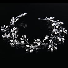 Fashion Small Pearl Bride Headbands Hairwear For Wedding Accessories Handmade 45cm Silver Bride Hair Jewelry Free shipping