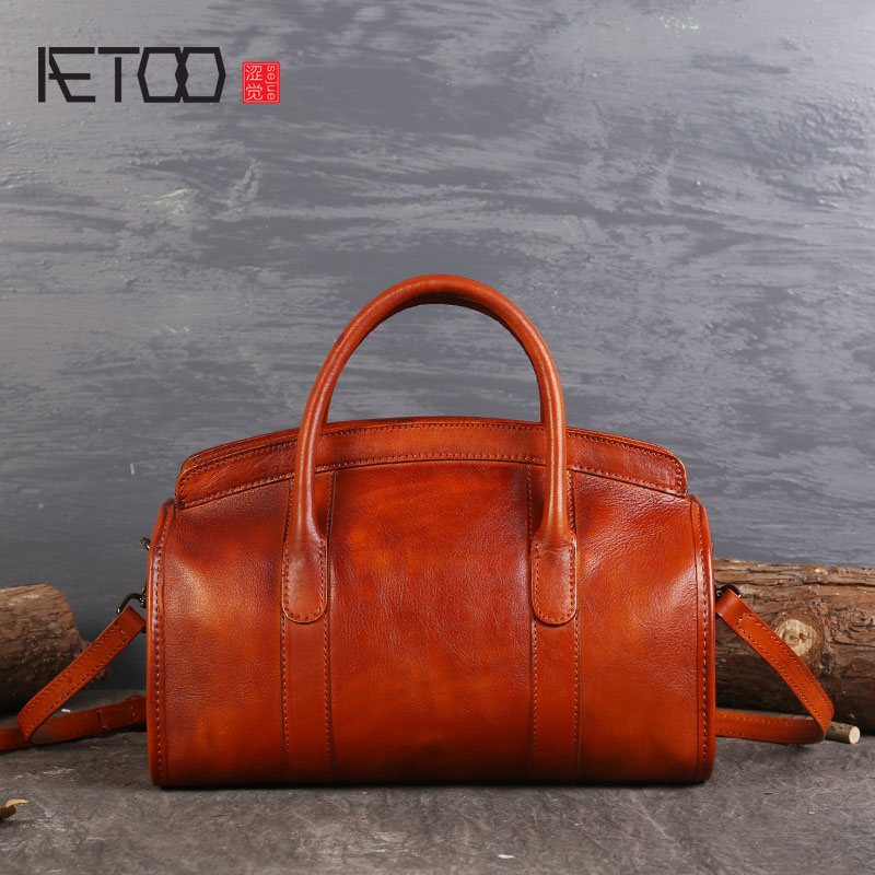 AETOO Original new hand-wipe the first layer of leather hand-tanned leather shoulder bag handbag oblique diagonal retro famous brand top leather handbag bag 2018 new big bag shoulder messenger bag the first layer of leather hand bag