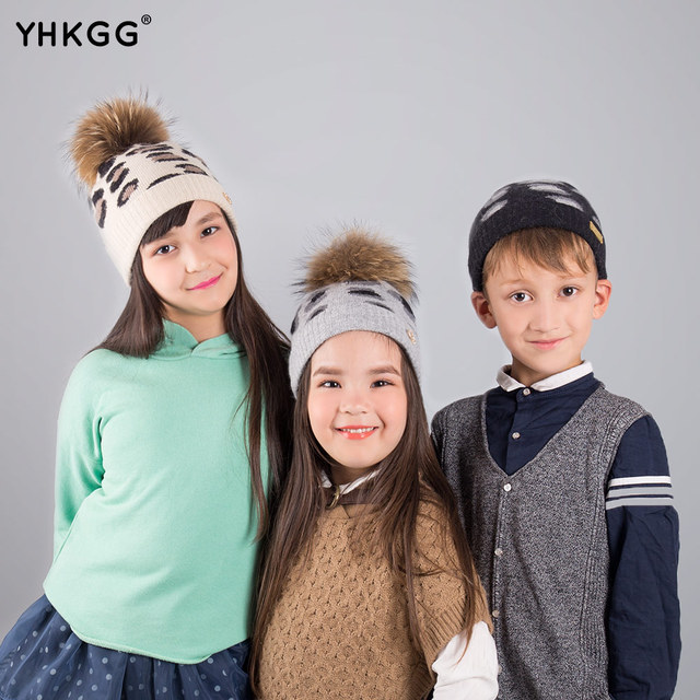 US $11 7 48% OFF|2018 The leopard print Children Winter Raccoon Fur Hats  pompom Cap Natural Fur Hat For Both men and women of Children-in Hats &  Caps