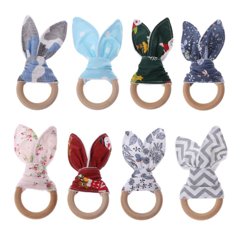 Christmas Baby Bunny Ear Teething Ring Safety Wooden Chewie Teether For Children Kids Baby Care Accessory Shower Gifts