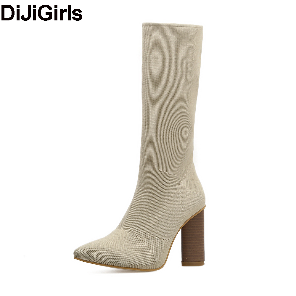 DiJiGirs Sexy Stretch Knit Sock Boots Mid Calf Bootie Women Wood Block Thick High Heel Shoes Spring Autumn Elastic Boots Pumps fonirra women mid calf stretch fabric sock boots pointed toe sexy brand design high heel women winter boots ladies shoes 670
