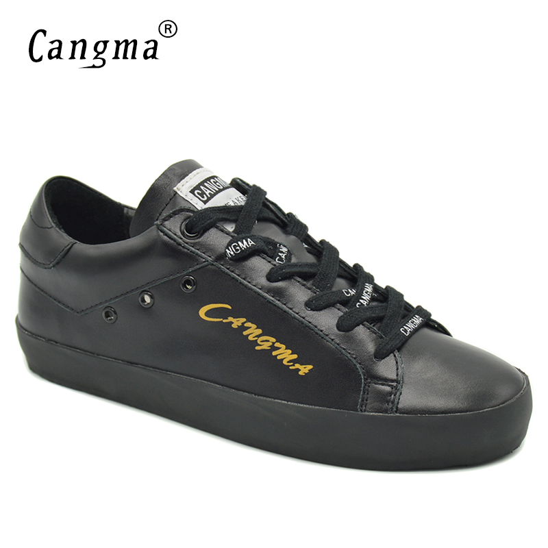 CANGMA Durable Flats Shoes For Woman Black Genuine Leather Female Handmade Footwear Women Sneakers Lace Up