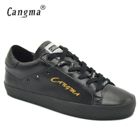 CANGMA Durable Flats Shoes For Woman Black Genuine Leather Female Handmade Luxury Footwear Women Sneakers Lace Up Casual Shoes