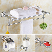 Suit Copper Towel Rack Double Court Hardware Set Chrome Finish Wall Mount Solid Brass Victorys American