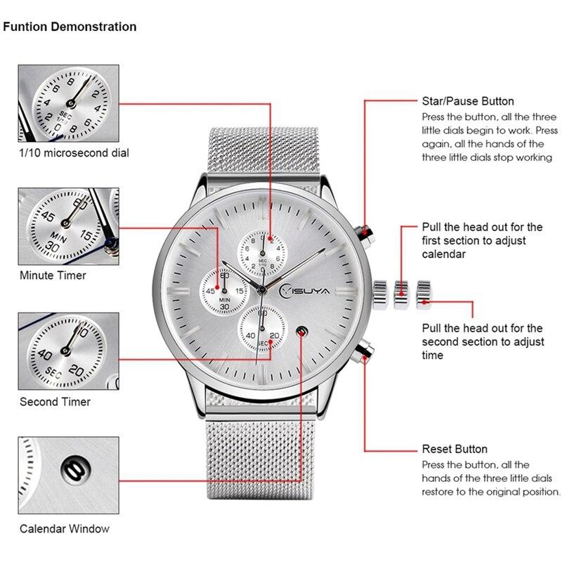 YISUYA Mens Watches Chronograph Top Brand Luxury Silver Stai