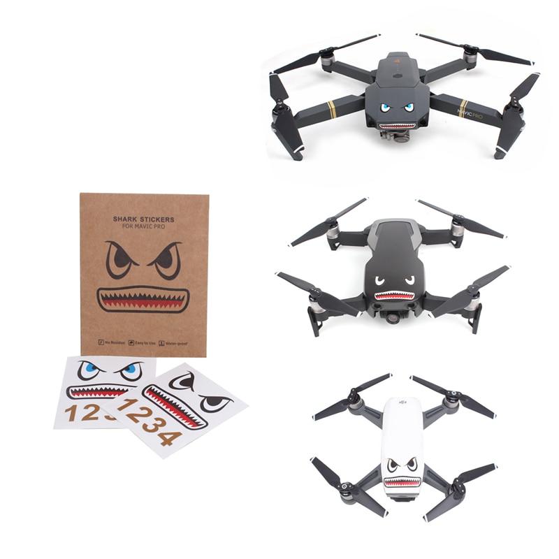 For DJI Mavic Air /Mavic 2/MINI/Pro/Spark Accessories Drone Shark Sticker Drone Body Paster Aircraft Frame Face Decals Skin
