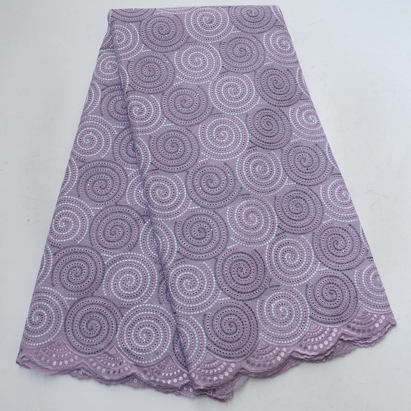 Lilac African Swiss lace voile fabric cotton 100 with eye holes suitable for men and women