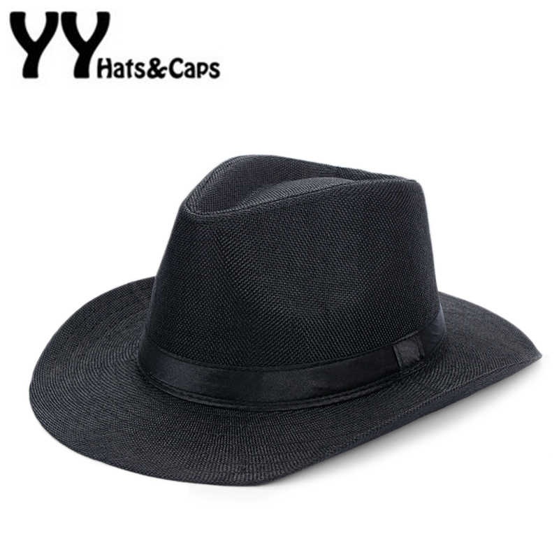f7748a312753ab Summer Panama Hat Men Linen Sunhat Wide Brim Beach Cap Male Sunhats Trilby  Panama Jazz Hat