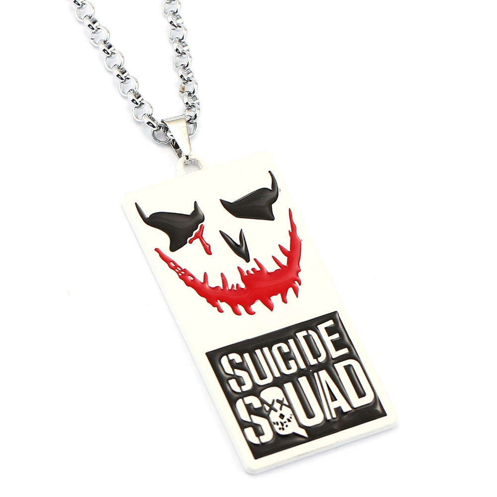 Movie Series Suicide Squad Necklace Crazy Clown Square Badge Metal Pendant Model Toy Figures For boys Girls Gift