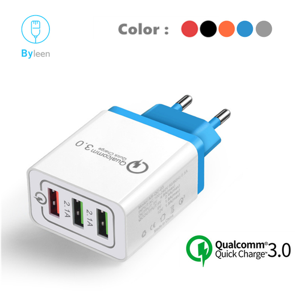 18W QC3.0 Fast Charge EU 3 Ports Travel Wall <font><b>Charger</b></font> Adapter For <font><b>Samsung</b></font> <font><b>Galaxy</b></font> S6 S7 S8 S9 S10 Plus S10e A70 A5 <font><b>A7</b></font> A9 Star 2018 image