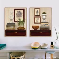 Хлопок без рамки пастырской натюрморт книга чаша Печать на холсте напечатанная картина маслом на хлопок дома стены художественные