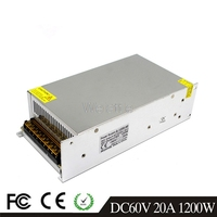 20A 1200W LED Light Belt Driver Switching Power Supply 110/220VAC DC60V Constant Voltage Transformer Monitoring CCTV CNC Motor