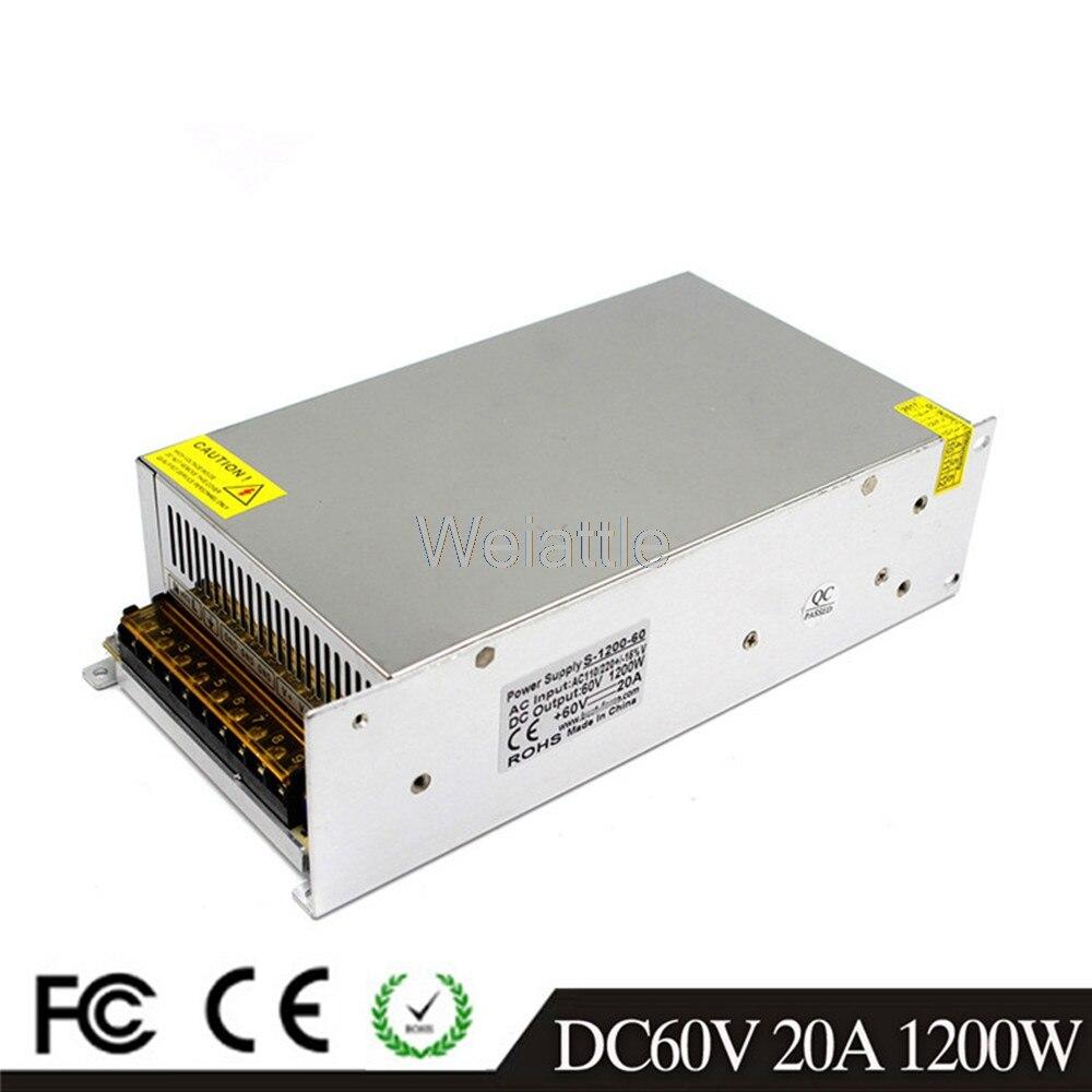 DC 60 V 12A 720 W 17A 1000 W 20A 1200 W lumière LED alimentation à découpage de conducteur de ceinture 110 V 220 V AC transformateur surveillance CCTV CNC