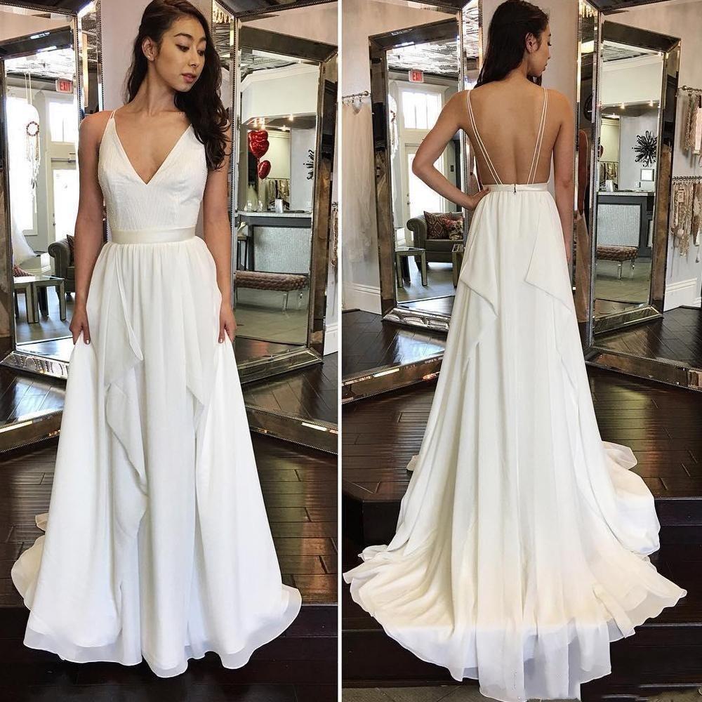 Aliexpress Com Buy Vestido De Noiva 2017 A Line Beach: Backless Vestido De Noiva 2018 Wedding Dresses A Line